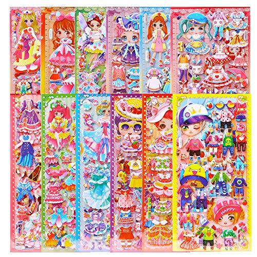 Pegatinas 3D Infantiles, ZoneYan Pegatinas Infantiles, 3D Pegatinas Hinchadas, Stickers Infantiles, Dress Up Stickers, Scrapbooking Pegatinas 3D, para Regalo de Cumpleaños Kawaii (12 Hojas)