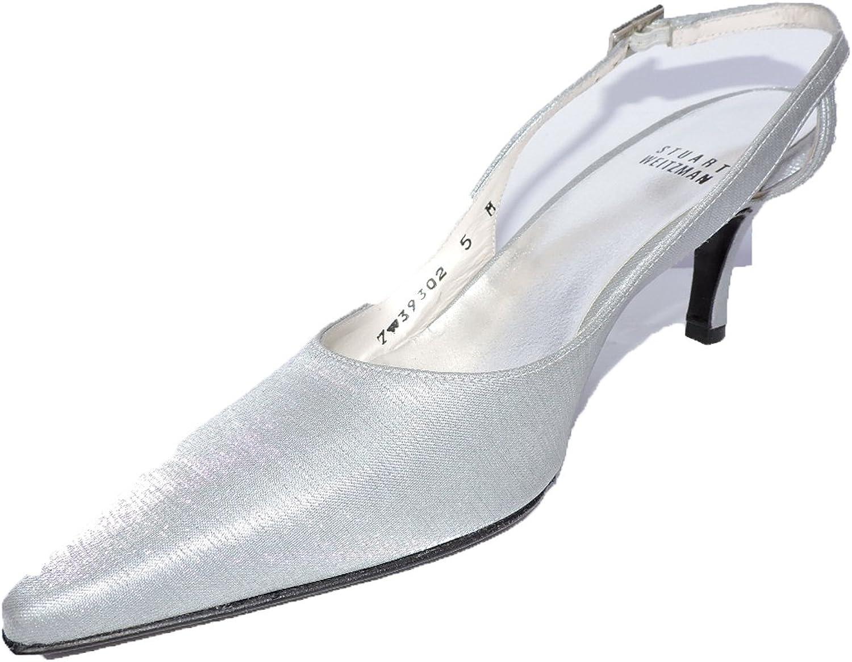 Stuart Weitzman Womens Glouniverse 2.5  Silver Slingback Heels Sandals Size 8.5 N, AA
