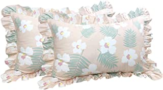Softta 20x30 Pillowcases Tropical Palm Leaves Floral Ruffle Pillow Covers 2 pcs 100% Cotton Khaki and White Pillow Shams Twin/Full/Queen (NO Comforter NO Filling)