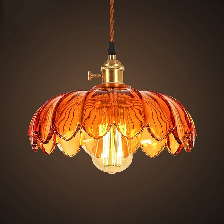 BAIJJ Kronleuchter - Glas Kronleuchter, amerikanische Retro Bar Cafe Bar Farbe Lotus Glas Lampe (Farbe  A)