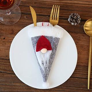 TZOU Deggod 8Pcs Santa Claus & Reindeer Tableware Holder Xmas Silverware Bags Knife and Fork Christmas Party Decoration(Sa...