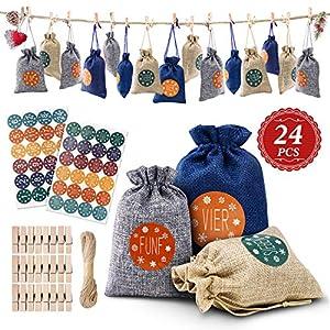Calendario de Adviento, Bolsas para Calendario Adviento Rellenables Navidad, Bolsa de Regalo Navidad con 24 Pegatinas Digitales, Bricolaje Calendario Adviento Tela para Decoración Navideña (24 Piezas)