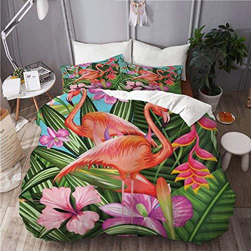 Juego de funda nórdica para ropa de cama, 3 piezas, juego de funda de edredón, ilustración de flamenco con jardín tropical, planta de flor de hibisco, vintage, edredón de microfibra ultra suave de pri