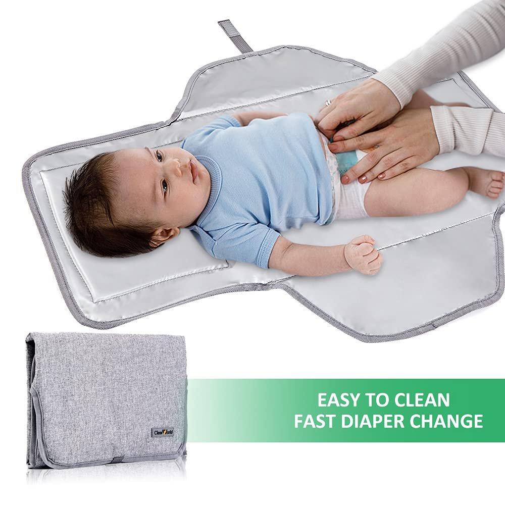Clearworld Portable Changing Pad, Travel Baby Diaper Changing Pad with Wipes Pocket, Waterproof Portable Changing Mat for Baby