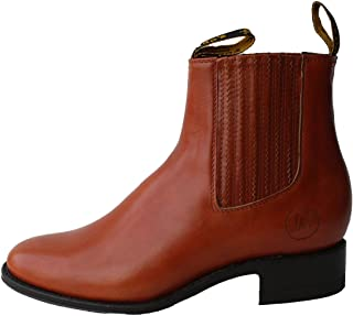 Men's Cowboy Genuine Smooth Cowhide Leather Short Ankle Western Rodeo Biker Boots_Tan_10