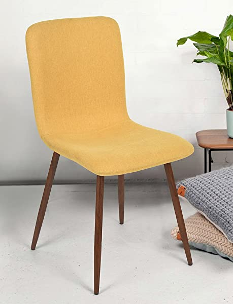 FurnitureR 4 Pieces Dining Chair Unique Style Fabric Cushion Dinning Seat Natural Wood Legs Armless Chairs Set Yellow