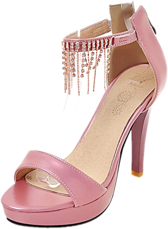 Rongzhi Womens Ankle Strap Pumps Platform High Heels Stilettos Dress Party Heeled Sandals Zip Open Toe White