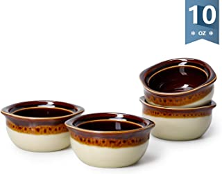 Sweese 114.116 Porcelain French Onion Soup Crocks Bowls - 10 Ounce Top to the Rim for Soup, Stew, Chill, Set of 4