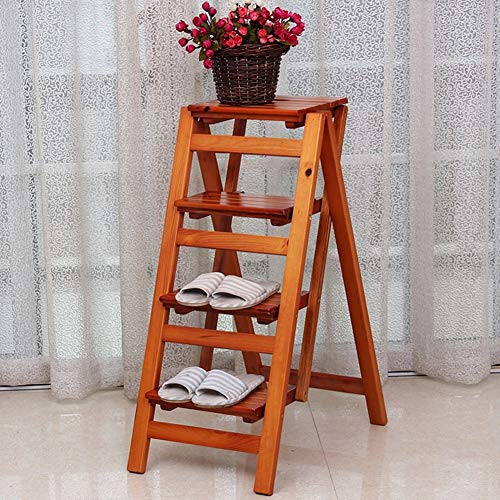 GUOXY Hocker Massivholz-Multi-Funktions-Leiter Startseite Folding Leiter Thick Indoor Climbing Ladder Heighten Vierstufenleiter,C