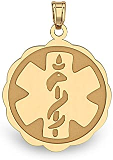 white gold medical alert charm