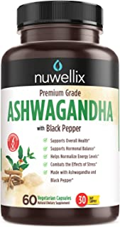 Nuwellix Ashwagandha Capsules with Black Pepper Extract - 1300mg, Natural Ashwagandha Supplement Supports Anxiety and Stre...