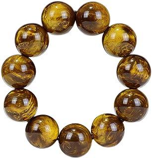 JAJAFOOK 12/14/16/18/20/22/24mm Unisex Natural Golden Sea Willow Wood Tibetan Buddhism Meditation Prayer Bead Necklace Mal...