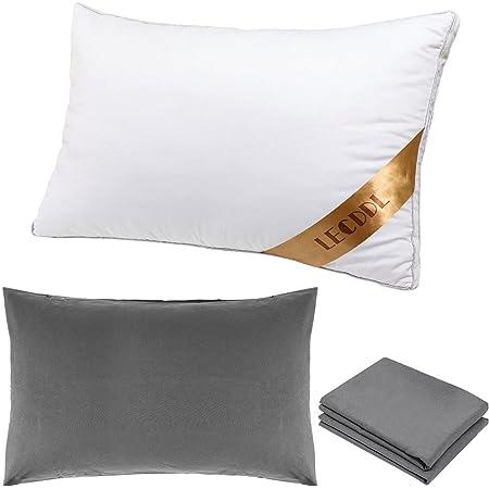 LECDDL枕 カバー2枚付き[水洗い綿素材] まくら 高反発枕 横向き対応 丸洗い可能 立体構造43x63cm (グレー)