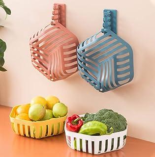 4Pack Fruit Basket Bowl,Aminery Plastic Storage Container Kitchen Fruit Bowl Set Plastic Drain Basket Vegetable Holder Dec...