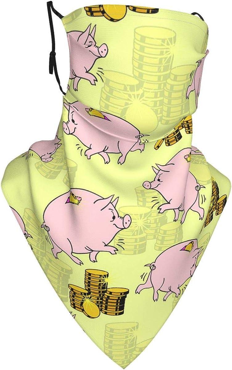 Piggy Bank Face Mask Reusable Women Cute Design Bandanas Neck Gaiter for Men Outdoor