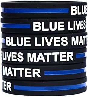 10 Blue Lives Matter Thin Blue Line Silicone Wrist Band Bracelet Wristbands - Support Police and Law Enforcement