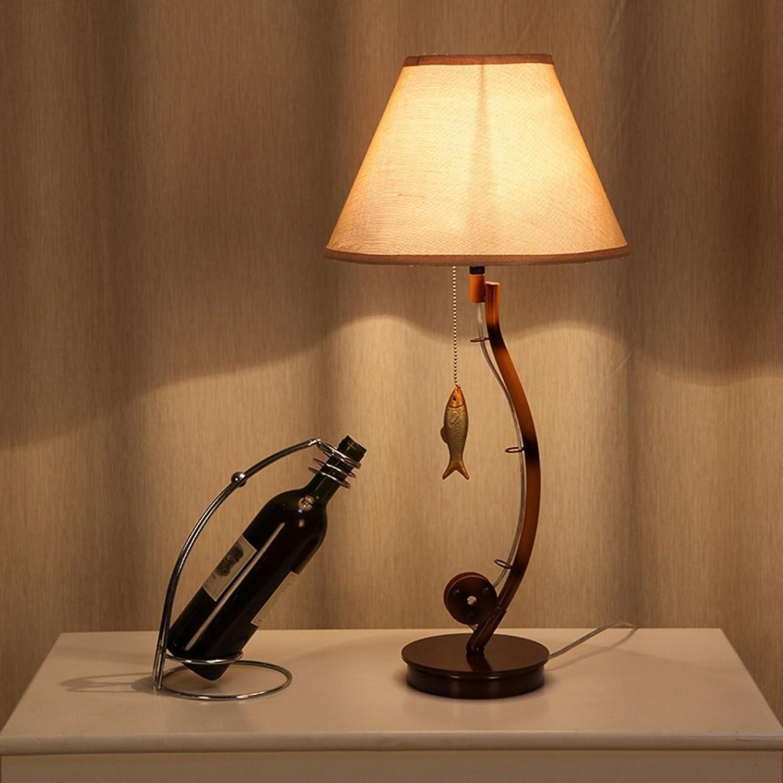 GZEALL Eisen Kunst Tischlampe Warm Schlafzimmer Nachttisch Schrank Tischlampe Wohnzimmer Studie Retro Tischlampe ziehen Linie Schalter E27 Lichtquelle B07GKYWV2M       Outlet Store Online