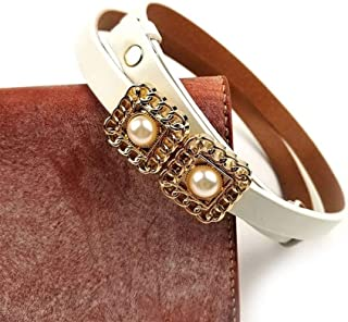 Fashion adjustable leather thin waistband dress small belt head layer cowhide buckle pearl waist chain (Color : White, Size : 90cm)