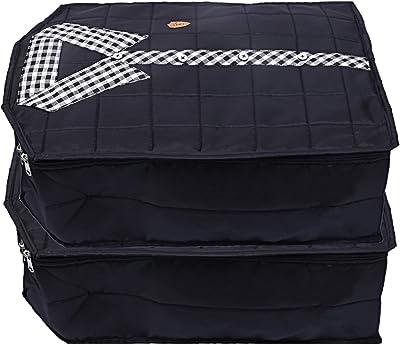 Kuber Industries Parachute Waterproof 2 Pieces Shirt Cover Quilted/Wardrobe Organizer (Black) - CTKTC23205
