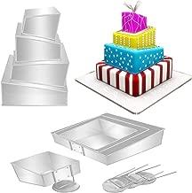 Euro Tins Multi Layer Cake Pans Mini Topsy Turvy Square 4 Tier Wedding Cake Pan - Cake Tin Set with Detachable Stand