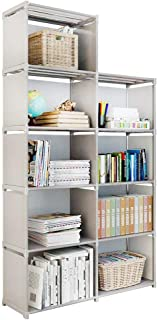 Firstry 9 Storage Cubes, 4 Tire Shelving Bookcase Cabinet, DIY Closet Organizers for Living Room Bedroom Office (Gray)