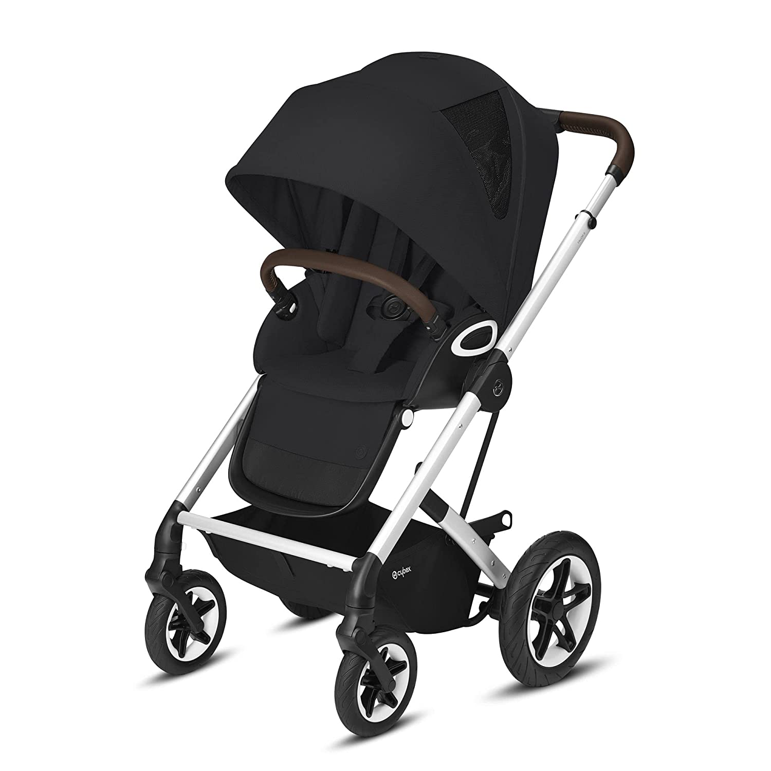 Cybex Talos S Lux Stroller, AllTerrain Wheels, FrontFacing or ParentFacing Seat Positions, OneHand Fold, Multiposition Recline, Deep Black
