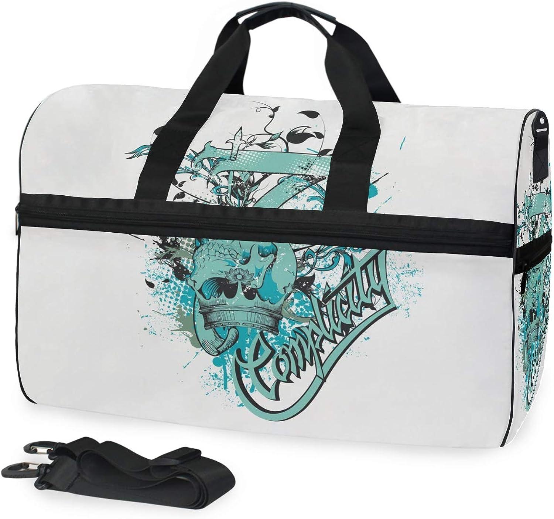 FANTAZIO Green Skull Sports Bag Packable Travel Duffle Bag, Lightweight Water Resistant Tear Resistant