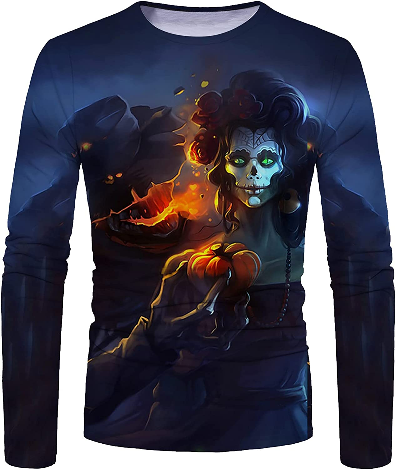 WOCACHI Halloween Soldier Long Sleeve T-shirts for Mens, Funny Pumpkin Black Cat Bat Print Casual Athletic Tee Tops