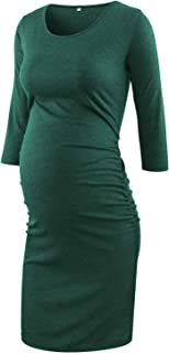 BBHoping Maternity Dress 3/4 Sleeve Ruched Pregnancy Dresses