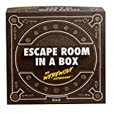 black box with orange and white writing for escape room game
