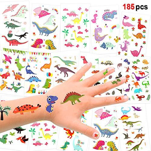 Konsait Dinosaurier temporäres Tattoo (185designs), Dino Kinder Tattoo Set für Kinder, Mädchen, Jungen, Kindergeburtstags Party Mitgebsel, Dschungel Jurassic Face Body Sticker Aufkleber für Kinder
