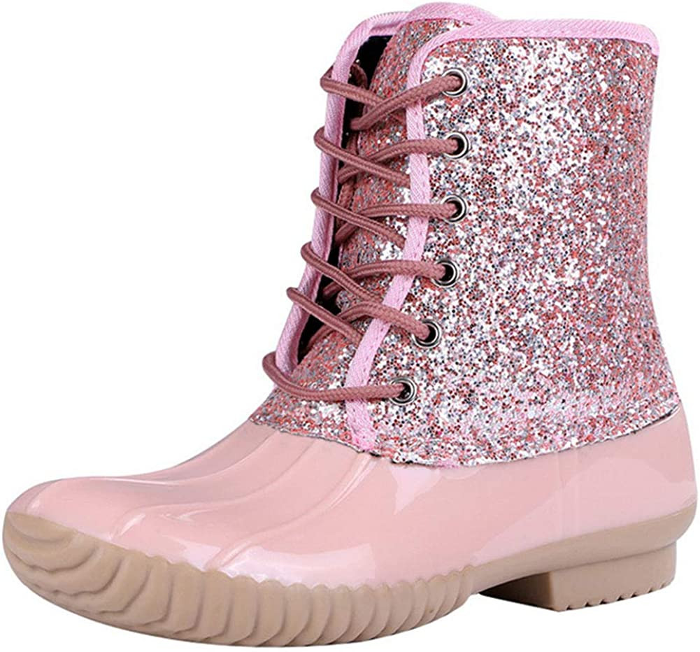 Vimisaoi Rain Boots for Women, Lace Up Slip On Waterproof Chelsea Ankle Boots Garden Shoes