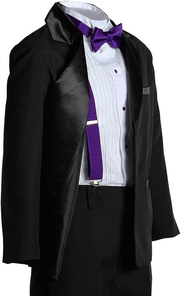Kids Two Button Notch Tuxedo with Plum Suspender Bow Tie Set