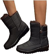 $27 » Padaleks Women's Snow Boots Winter Fur Lined Warm Shoes Anti-Slip Boot Waterproof Outdoor Short Bootie Side Zipper