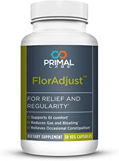 Primal Labs FlorAdjust Daily Probiotic Blend Dietary Supplement with Bifidobacterium Longum and Perilla Frutescens, Soothes Constipation, Bloating, 30 Count