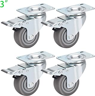 DICASAL 3 Inches Heavy Duty 360 Degrees Swivel Casters TPR Wheels Castors with Safety Dual Locks and Brakes Pack of 4