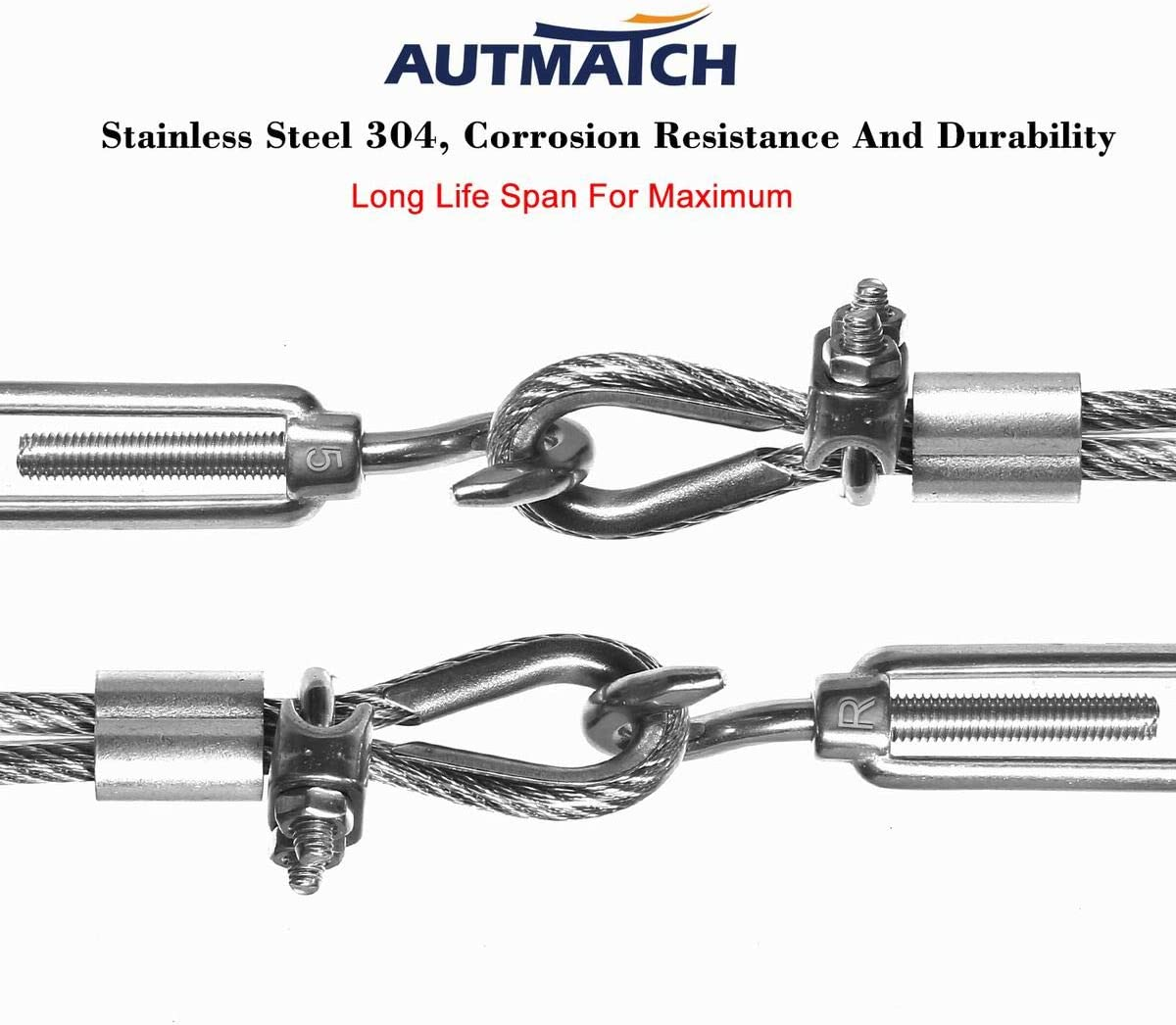 Autmatch M6 Stainless Steel 304 Turnbuckle Hook and Hook Light Duty Wire Rope Tension Pack of 5