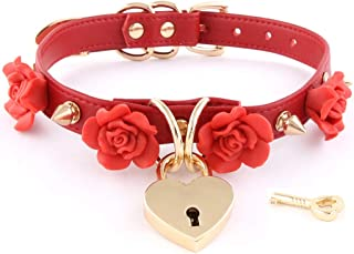 Handmade Clay Flowers Spikes Heart Lock Faux Leather Choker Collar