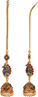 Boho Vintage Antique Ethnic Gypsy Tribal Indian Oxidized Gold Tassel Jhumka with Ear Support Chain Dangle Earrings Jewelry