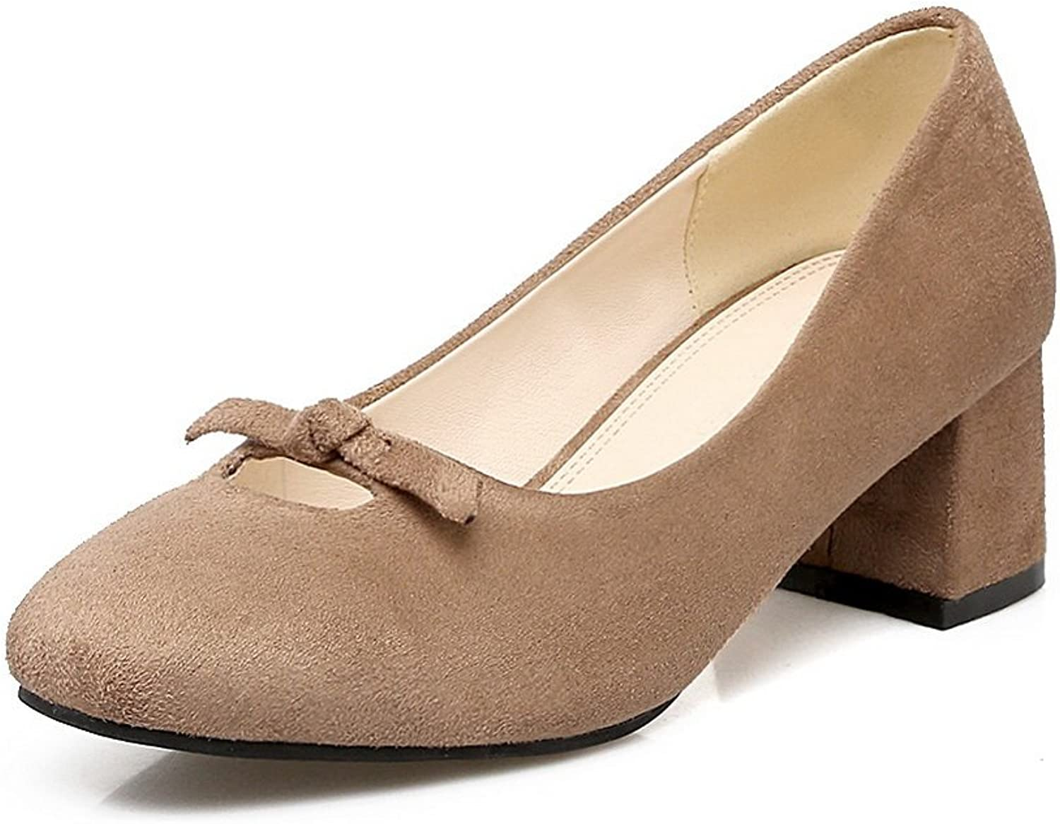 BalaMasa Womens Square-Toe Chunky Heels Low-Cut Uppers Suede Pumps shoes