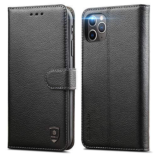 WenBelle Case Compatible with iPhone 12 Pro Max 5G (6.7 inch) Wallet Case,Genuine Leather Wallet,RFID Blocking Protection,Viewing Stand, TPU Shockproof Flip Cases (Black)