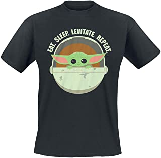 Star Wars The Mandalorian - Eat. Sleep. Levitate. Repeat. - Grogu Hombre Camiseta Negro, Regular