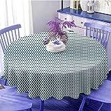 Mantel redondo vintage con lunares azules marinos y círculos Pop Art de los años 50 y 60 de picnic inspirado en la imagen de regalos para las mujeres de 149 cm de diámetro azul oscuro y blanco