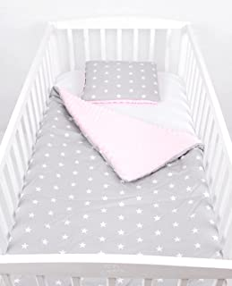BABYLUX Babydecke Krabbeldecke MINKY Kuscheldecke Decke 75 x 100 cm mit KISSEN 30x35cm 4K. Rosa  Sterne