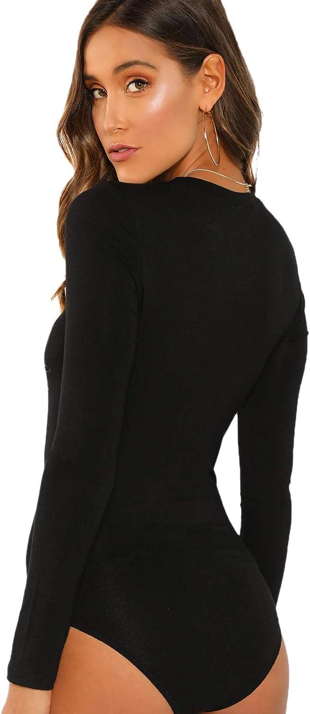 SheIn Women's Long Sleeve Round Collar Bodycon Bodysuit Leotard Jumpsuits Top