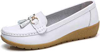 2019 Flats Woman Cow Leather Flats Women Slip On Women's Loafers Metal Decoration Large Size 35-44
