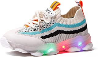 Naikly Baby Boys Filles LED Chaussures Lumières Sneakers Snoffret Soft Mesh Knit Up Light Up Chaussures Light Poids Respir...