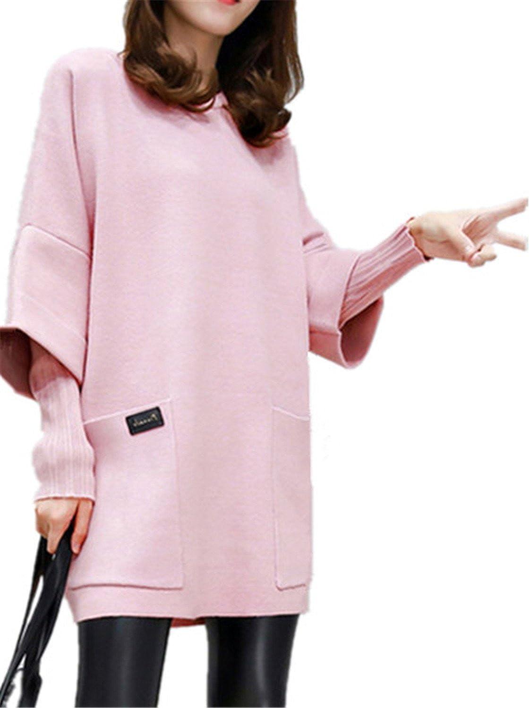 Henraly M4XL Plus Size Women Loose Dress Winter Korean Style Big Sizes Patchwork Two Pieces Pink Dress
