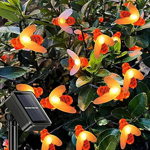 Guirnaldas Luminosas Exterior Solar, ZVO 7M 50 LED Luces de Guirnaldas Abeja Solar - 8 Modos Cadena de Luces Decorativa al Aire Libre Impermeable para Porches, Bodas, Balcón, Patio(Blanco Cálido)