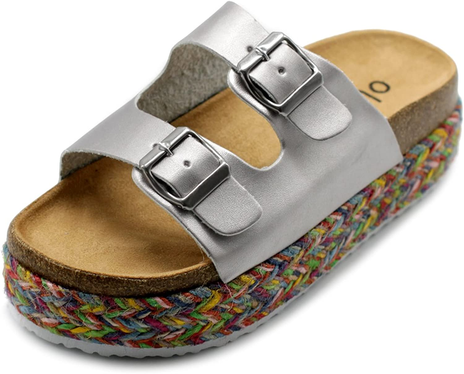 Ollio Womens shoes Slip On Boho Two Strap Platform Espadrilles Cork Sandals GAGE04 (8 B(M) US, Silver)